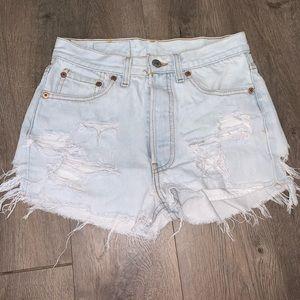 Levi 501 Light Wash Very Distressed Jean Shorts